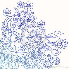 Henna Abstract Flower and Bird Doodle Vector by Blue67, via Dreamstime