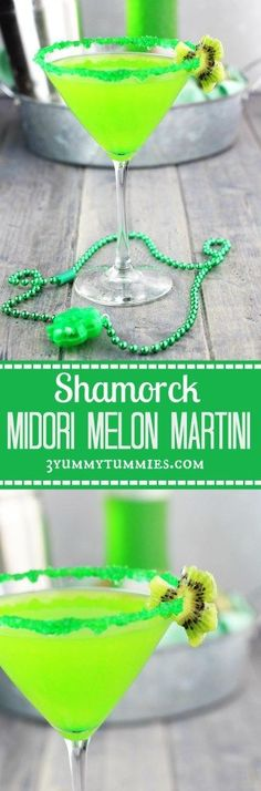 This Midori Melon Martini with Midori, Vodka and OJ is perfect for your St. Patr… This Midori Melon Martini with Midori, Vodka and OJ is perfect for your St. Holiday Drinks, Party Drinks, Summer Drinks, Fun Drinks, Mixed Drinks, St Patrick's Day Cocktails, Cocktail Drinks, Green Cocktails, Colorful Cocktails