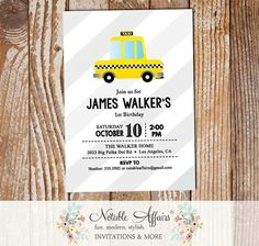Black Yellow Taxi Cab Taxi Car on Gray Diagonal Stripes Birthday Party Baby Shower invitation - Taxi baby shower birthday party - any age by NotableAffairs