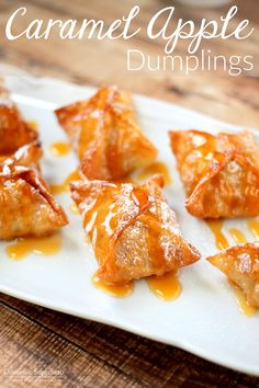 Caramel Apple Dumplings - delicious caramel apples wrapped inside a crispy sugary shell! This is the PERFECT dessert!