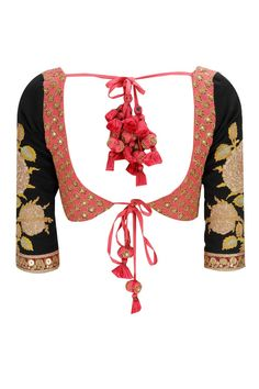 Beautiful Sabyasachi Designer Blouse – Fully embroidered pink blouse with black embroidered elbow length sleeves featuring heavy tie back tassels on the back. Saree Blouse Patterns, Sari Blouse Designs, Blouse Styles, Indian Attire, Indian Wear, Indian Outfits, Indian Clothes, Indian Style, Choli Designs