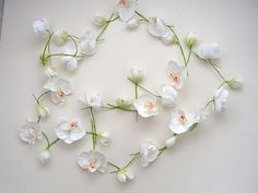 Garland of Tiny Artificial  White Orchids