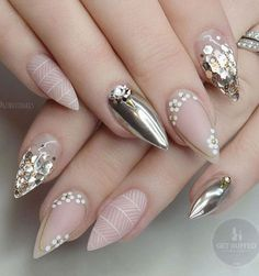 Almond shape still rules in the world of manicures, and it is adored by both – younger and older ladies. latest nail art designs galleryfrench tip nail designs for short nails nail art stickers online nail art stickers how to apply nail stickers walmart Nail Art Rhinestones, Rhinestone Nails, Fancy Nails, Gold Nails, Nude Nails, Matte Nails, Stiletto Nails, Silver Nail, Gorgeous Nails