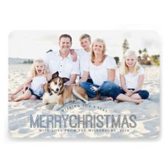 """A modern """"Merry Christmas"""" in cool shades of blue and gray sends casual contemporary greetings to family and friends in this double-sided photo card. Two large size photos of your family, both on the front and the back makes the most of this rounded corner flat card with curved text and bold styling. #photo #modern #christmas #neutral #simple #two #photo #merry #christmas #blue #gray #retro #happy #holiday #typography #white #greeting #multi #photo #casual"""