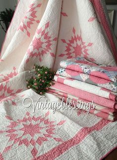 Pretty in Pink, perfect for heirloom wedding gifts, Mothers' day gifts, Valentines' Day. We have been romancing the cottage home since 1997 at Vintageblessings! Pink Quilts, Old Quilts, Antique Quilts, Star Quilts, Scrappy Quilts, Vintage Quilts, Quilt Blocks, Baby Quilts, Two Color Quilts