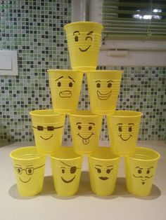 Make these upside down to use for ball toss knock down game at Lego party. Lego Batman Party, Lego Party Games, Lego Themed Party, Batman Birthday, Boy Birthday, Party Emoji, 9th Birthday Parties, Lego Birthday Party, Birthday Ideas