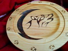 """12"""" Wooden Plate - howling wolf & moon"""