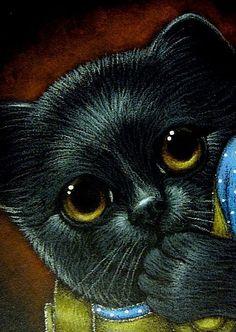 Cyra R. Cancel  | Art: FANTASY SHY BLACK KITTEN CAT by Artist Cyra R. Cancel #CyraCancelArt #Cyra #Art