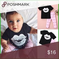 """""""Lipstick & Eyelashes"""" outfit """"Lipstick & Eyelashes"""" outfit Pants & shirt included for 15.99 ➕ tax/shipping. ✖️Bow not included✖️ Sizes: 0-12 mon, 12-18 mon, 18-24 mon, 2-3t, & 3-4t  EMAIL orderbealine@gmail.com or DM for order details.  https://www.facebook.com/BeaLine-1546759558972156/ BeaLine Other"""