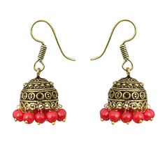 Waama Jewels red pearl Jhumki Earring for women and girl Party Wear EarringEarring hippie earrings - Waama Jewels Earring