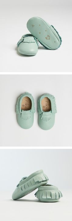 "Genuine Baby Leather Moccasins Teal ""Nuna"" - featuring geometric fox design"