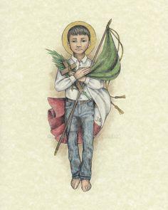 Saint Jose Luis Sanchez del Rio by Muko-kun Catholic Priest, Catholic Art, Roman Catholic, Jesus Mother, Blessed Mother Mary, St Jose, Catholic Memes, All Saints Day, Mary And Jesus