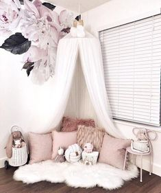 Unique 10 Layers Yarn Princess Bed Net Canopy- White – TYChome Children''s room ideas and inspiration for Katharine Dever Bed Net Canopy, Bed Canopy With Lights, Baby Bed Canopy, Bed Tent, Baby Bedroom, Nursery Room, Bedroom Decor, Room Baby, Playroom Decor