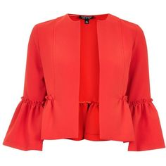 Topshop Crop Frill Jacket ($39) ❤ liked on Polyvore featuring outerwear, jackets, red, red ruffle jacket, cropped jacket, red cropped jacket, ruffle jacket and red jacket