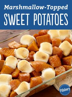 "Marshmallow-Topped Sweet Potatoes - This easy recipe has ""required eating"" status around the holidays. So good and easy, it's amazing it isn't served more often. Recipe Using Canned Sweet Potatoes, Sweet Potatoes With Marshmallows, Canning Sweet Potatoes, Slow Cooker Sweet Potatoes, Sweet Potato Toast, Sweet Potato Casserole, Sweet Potato Recipes, Easter Side Dishes, Main Dishes"