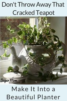 Complete instructions to turn an old cracked or thrifted teapot into a planter from Super Mom - No Cape! Click through to go there now!
