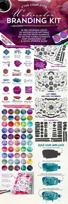The Complete Watercolor Branding Kit. Everything you need to design a totally awesome, vector watercolor logo. Get this as part of the Ultimate Designer's Bundle (this and so much more) for just $29!