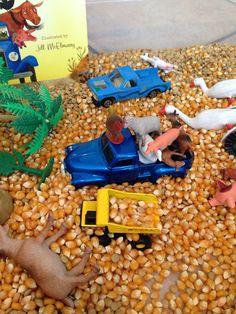 Farm theme little blue truck sensory bin Corn,farm animals little blue truck dump trucks