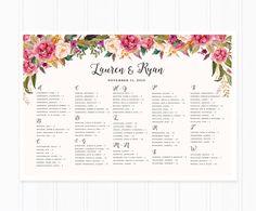 Wedding Seating Chart Printable Seating by mooseberryprintable