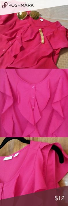 New York & Company hot pink top Lovely tank top that buttons halfway down. Would look great alone or with a shrug, blazer or cardigan! New York & Company Tops Blouses