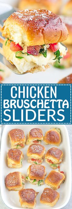 Italian Chicken Bruschetta Sliders are the perfect easy appetizers for feeding a crowd. Best of all, the recipe for these mini burgers come together in less than 30 minutes with tender chicken, juicy balsamic tomatoes, gooey Mozzarella and a melted buttery topping. So amazingly delicious for parties, barbecues, summer cookouts picnics, potlucks or any game day get-together or as an after-school snack.
