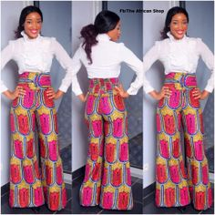 Wide leg African print pants by THEAFRICANSHOP on Etsy, £45.00