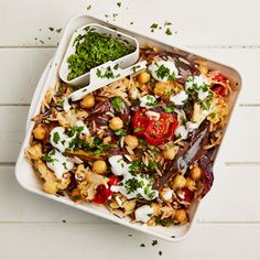 Meera Sodha's recipe for wild rice, chickpea and aubergine salad with tamarind and 'yoghurt' dressing.