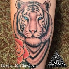Tattoo by our artist HEATHER MARTIN-OWENS. Check out Heather's other work at http://www.larktattoo.com/long-island-team-homepage/heather/ tiger, tattoo, black and gray @larktattoo