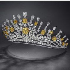 Graff yellow and white diamond tiara
