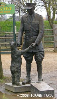 Winnie the Pooh was a bear cub adopted by WW1 Lt. Harry Colebourn who was from Winnipeg, MB.  He named the cub after his home town, Winnipeg. (Statue at  Assiniboine Park Zoo)