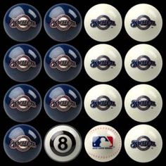 Milwaukee Brewers Pool Ball Set