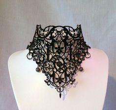 Black Velvet Victorian Steampunk Lace Choker Necklace http://bellanblue.com