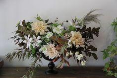 Autumn neutrals arrangement, Cafe au lait dahlia, clematis, japanese maple, snowberry, scabiosa.