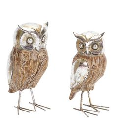 Look what I found on #zulily! Metallic Owl Figurine Set #zulilyfinds