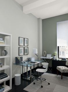Lovely Interior Paint Ideas And Inspiration. Gray Home Office ...