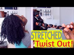 ❤ 90| How to Stretch Natural Hair Twist Out with Banding / African Threa...