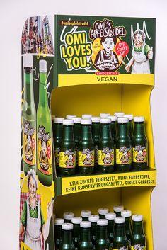 Omi's Apfelstrudel Display Vegan, Retail, Display, Apple Strudel, Juice, Floor Space, Billboard, Vegans, Sleeve
