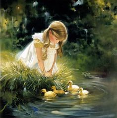 Little girl playing by the pond by Donald Zolan