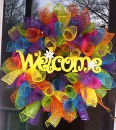 Summer Wreath/ Welcome Wreath/ Summer Deco Mesh Wreath/ Spiral Wreath/ Summer Door Decor by Wreaths4u2byPaula on Etsy https://www.etsy.com/listing/217985569/summer-wreath-welcome-wreath-summer-deco
