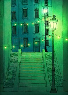 Night walking - Paris illustration Montmartre Art illustration Giclee print Poster Architecture Home decor Wall art City print Green Blue Art And Illustration, Illustration Parisienne, Technical Illustration, Home Decor Wall Art, Graphic Art, Mail Art, Concept Art, Art Photography, Poster Prints