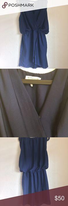 BCBGEneration Navy Blouson Wrap Dress Size medium dress. Good condition. 100% polyester. BCBGeneration Dresses
