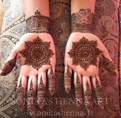 Beautiful bridal mandalas by Sonika's Henna Art.
