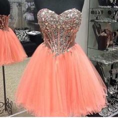AHC169 Silvery Beaded Bodice Blush Pink Tulle Skirt Homecoming Dresses Short Prom Dress