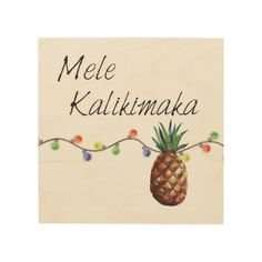 Mele Kalikimaka - Christmas Pineapple Wood Wall Art