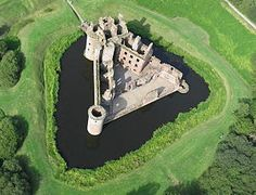 Scottish Castles: Caerlaverock Castle, a moated triangular castle, first built in the thirteenth century