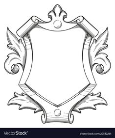 Baroque shield drawing vector image on VectorStock Graphisches Design, Art Deco Design, Baroque, Shield Drawing, Graphite Art, Fantasy Art Landscapes, Dungeons And Dragons Homebrew, Wood Carving Patterns, Family Crest