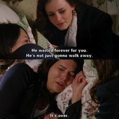 My heart breaks for Lorelai in this scene. I love when she calls Luke and Luke comes over