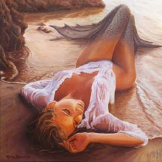 A Mermaid In The Sunset - Love Is Seduction Painting - Reminds me of Sandie Like the Beach! Sunset Love, Sunset Sea, Mermaid Pictures, Mermaids And Mermen, Fantasy Mermaids, Merfolk, Mermaid Art, Mermaid Paintings, Anime Mermaid