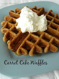 Num's the Word: HOLY AWESOMENESS! Carrot Cake Waffles with Whipped Cream Cheese topping - HECK YES! The best way to welcome Spring is with a plate full of these!