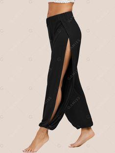 Slit Elastic Waist Harem Pants - BLACK L